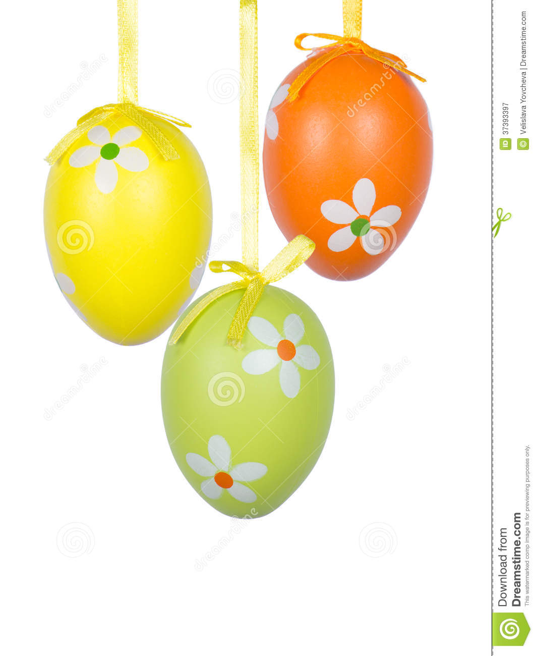 Group of hanging easter eggs on a white background royalty for Hanging groups of pictures