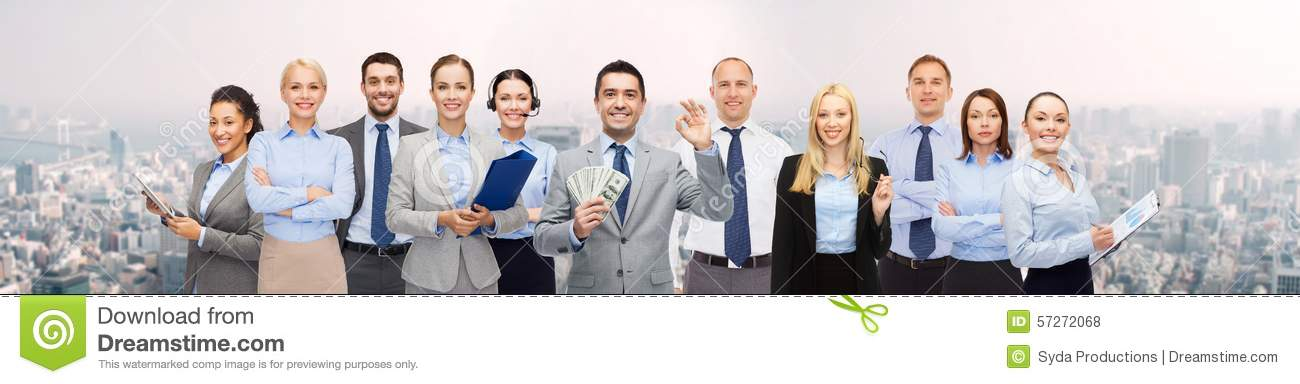 Group Of Happy Businesspeople With Dollar Money Stock ...