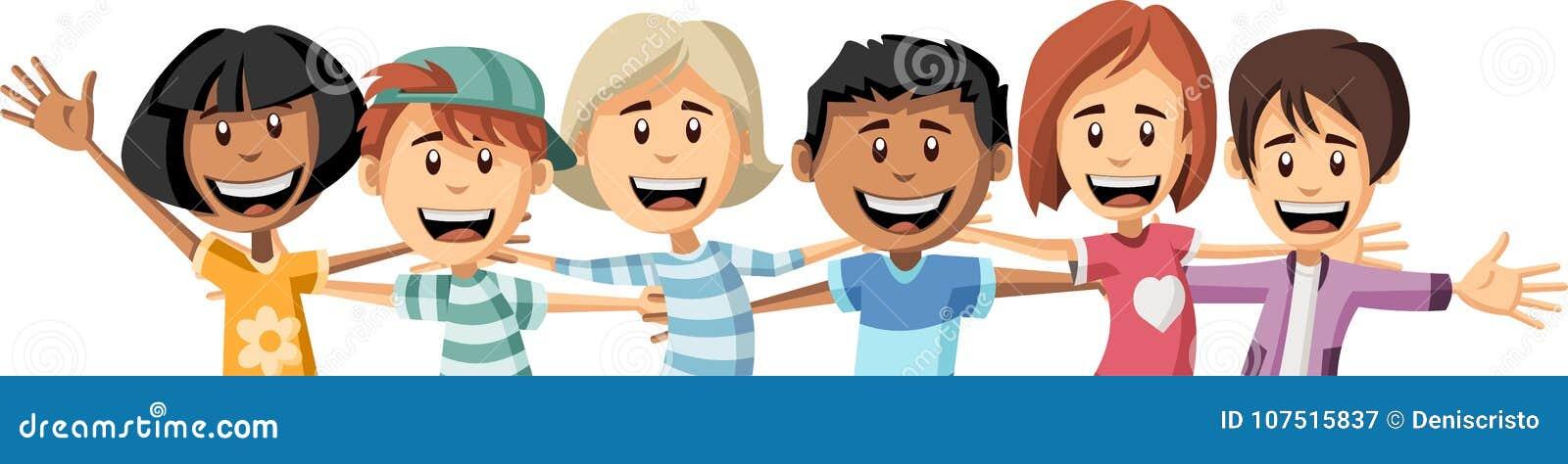 Group Of Happy Cartoon Children Hugging Each Other Stock Vector