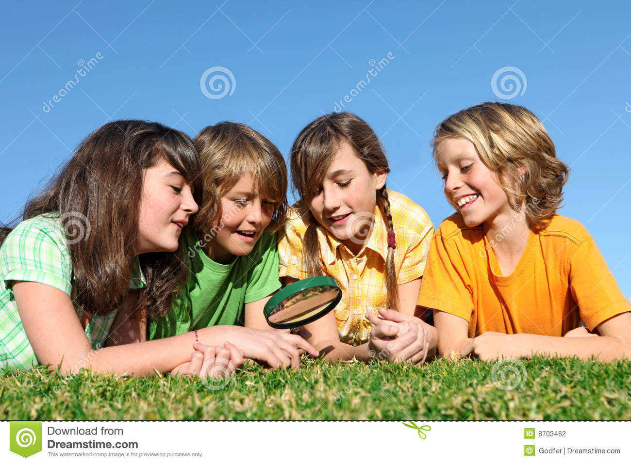 Group of happy children or kids playing stock photography image