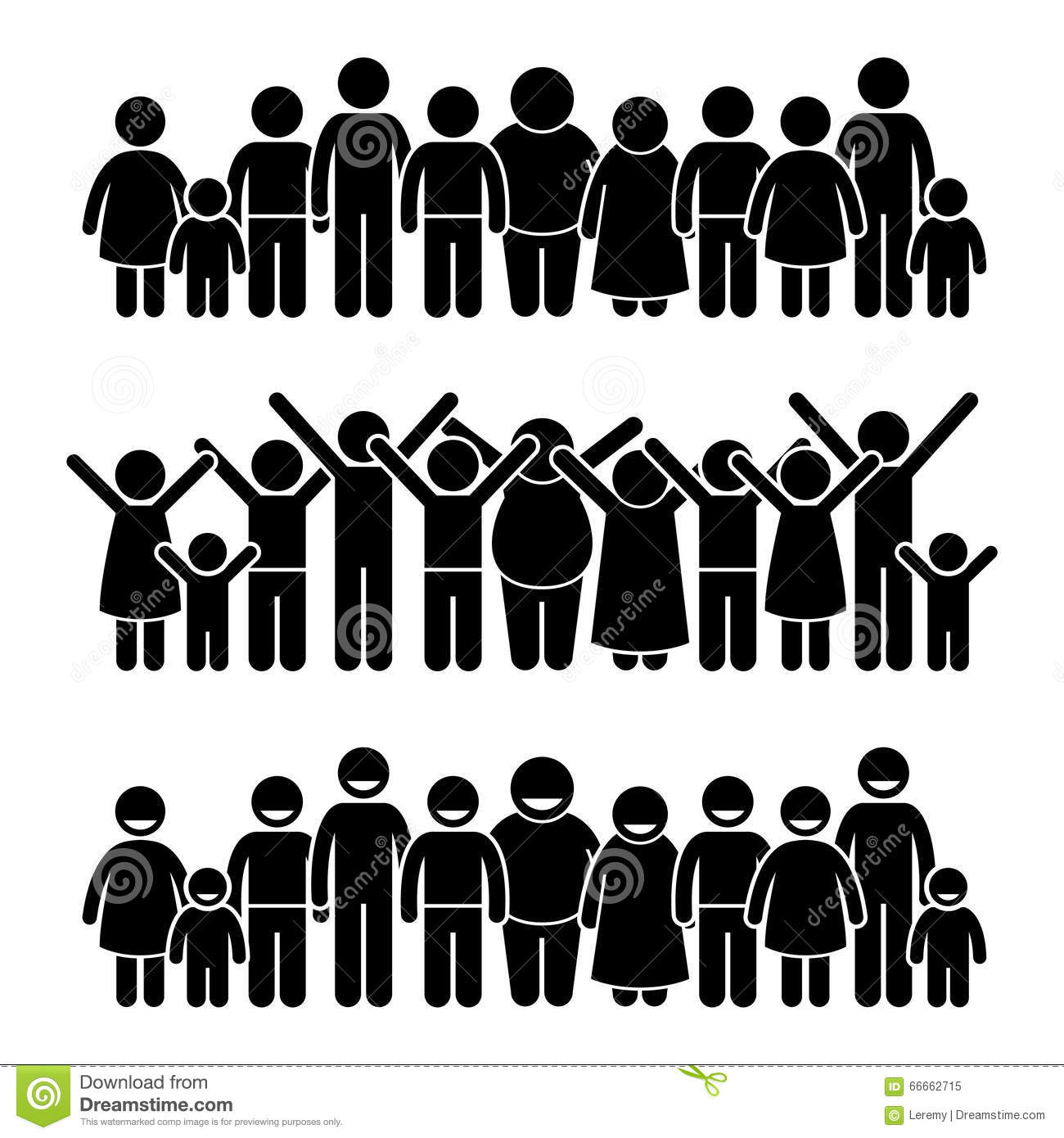 Line Art Group : Group of happy children standing smiling and raising hands