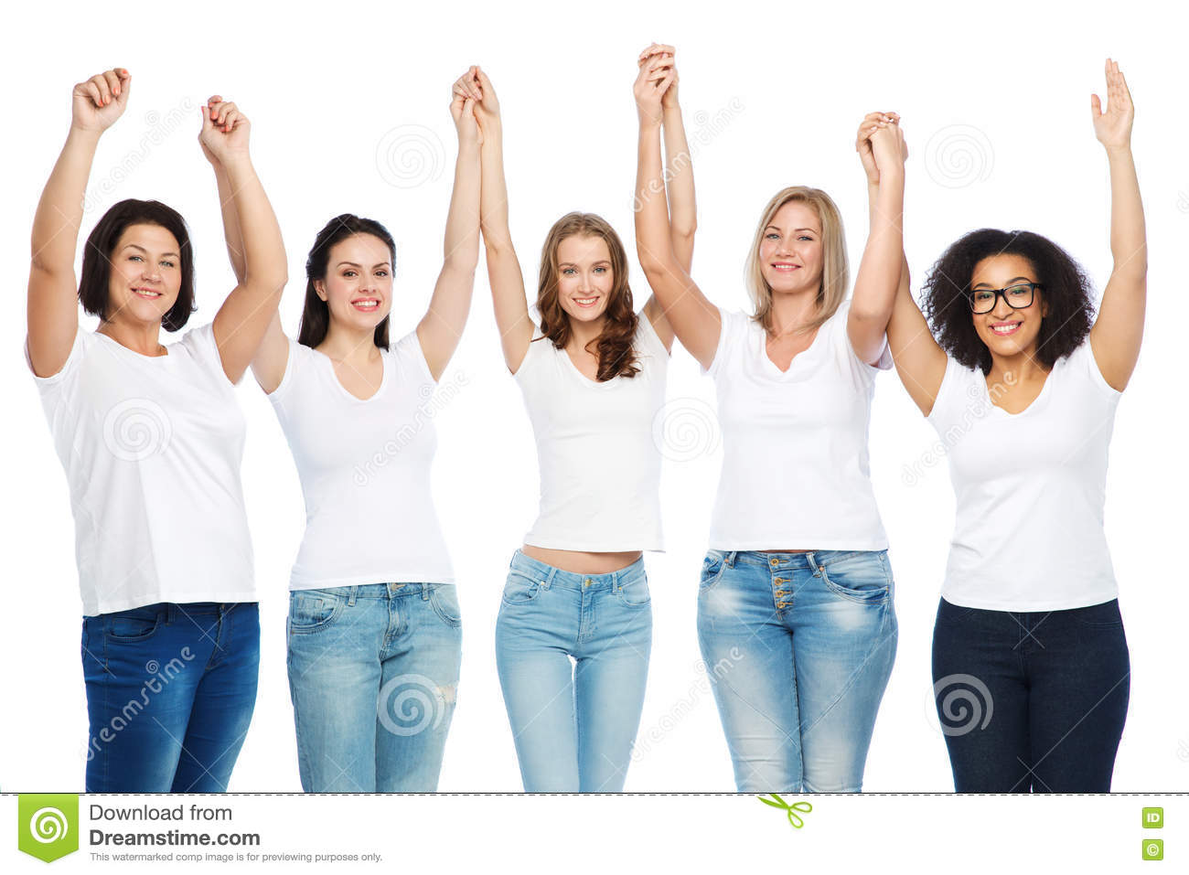 group of happy different women in white t shirts stock