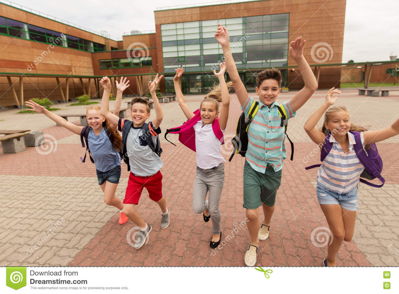 Happy Primary School Boy Age 10 With Backpack Stock Photo