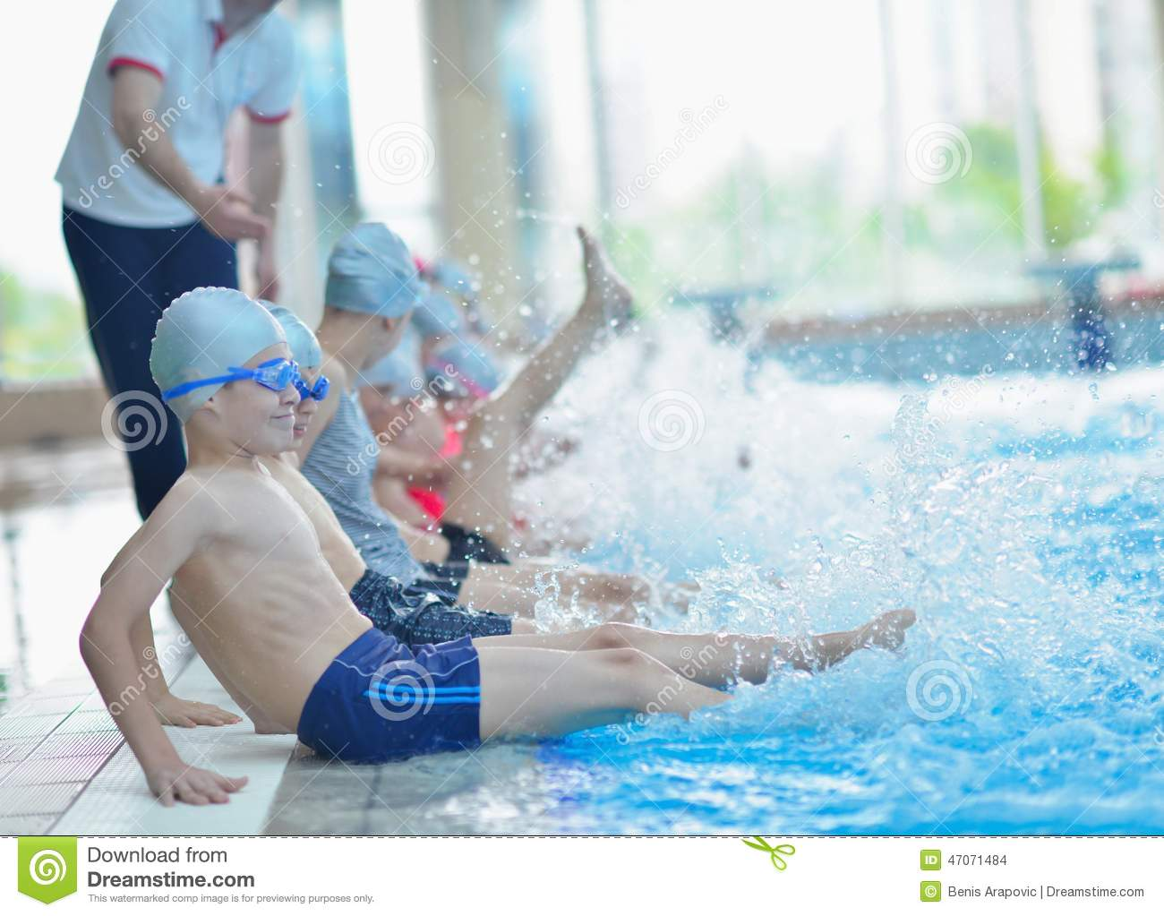 Group of happy kids children at swimming pool