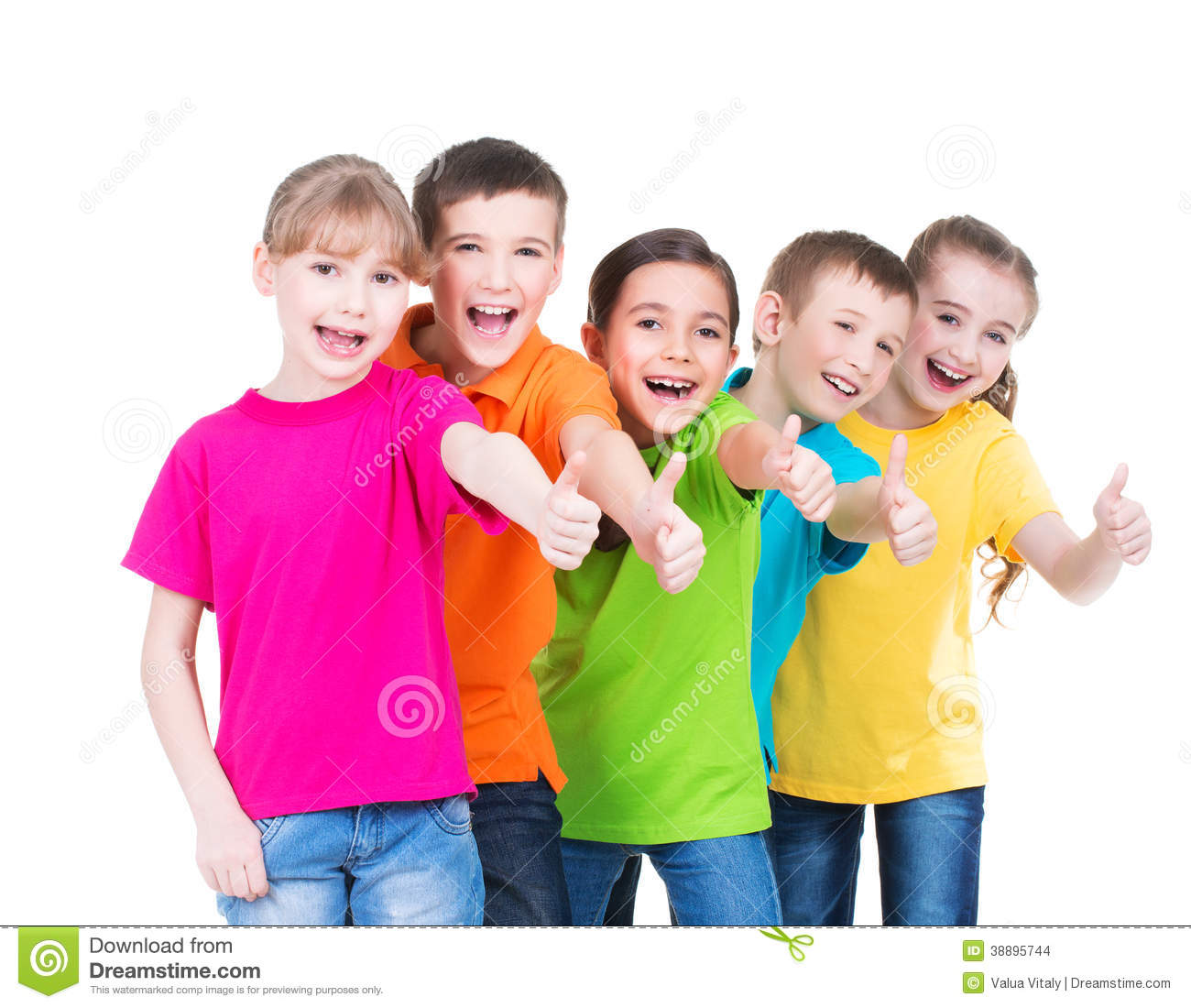 Happy kids with thumb up sign in colorful t shirts standing together