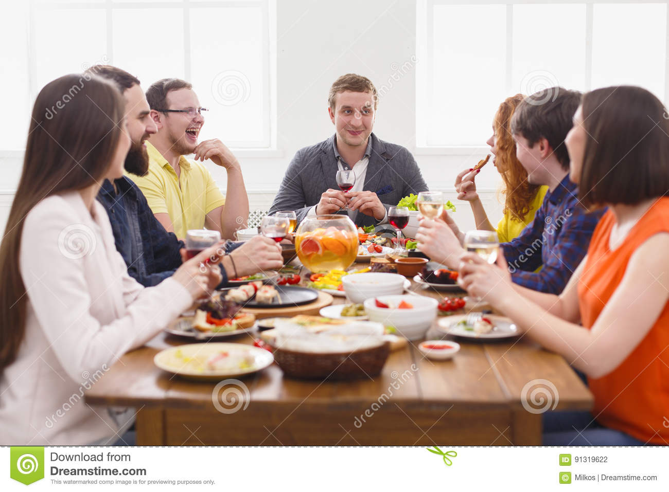 Group Of Happy People At Festive Table Dinner Party Stock  : group happy people festive table dinner party friends meeting talking eating healthy meals cafe restaurant young company 91319622 from www.dreamstime.com size 1300 x 957 jpeg 130kB