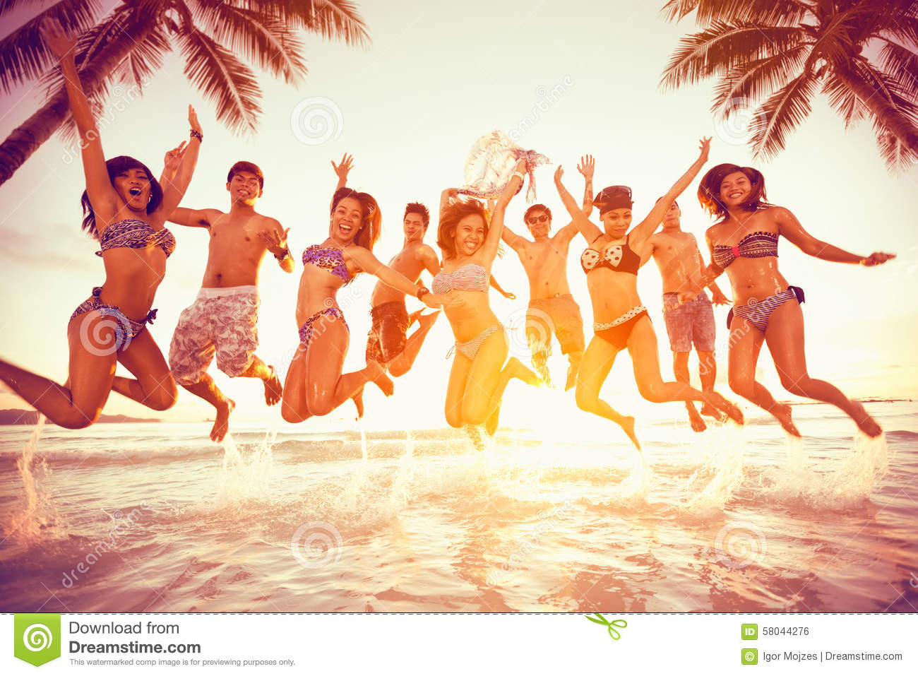 Group of happy young people jumping - Copy Space Blank Summer Vacation ...