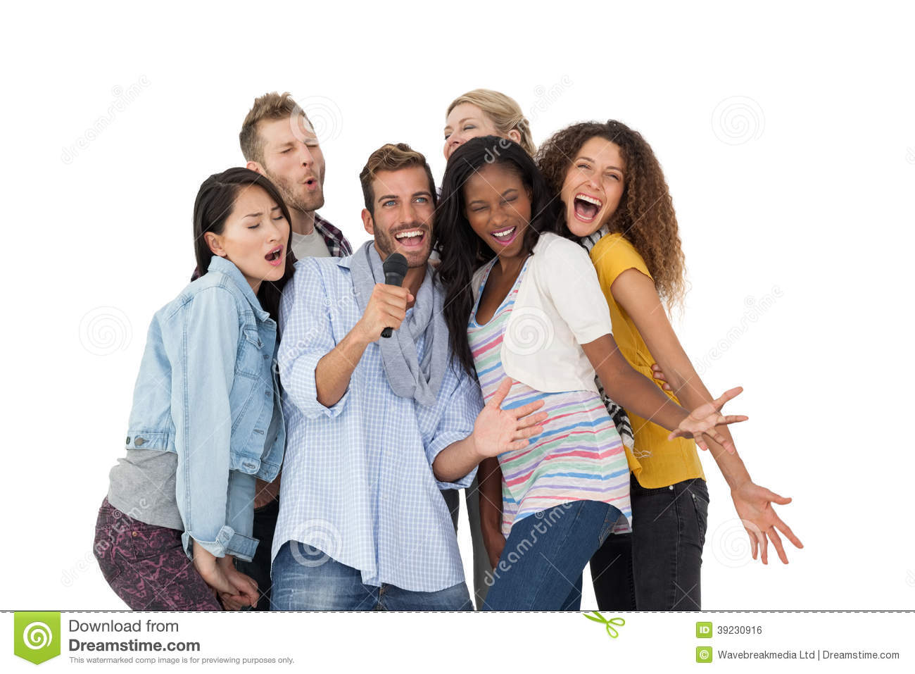 Group Of Happy People Singing Into Microphone Stock Photo ...