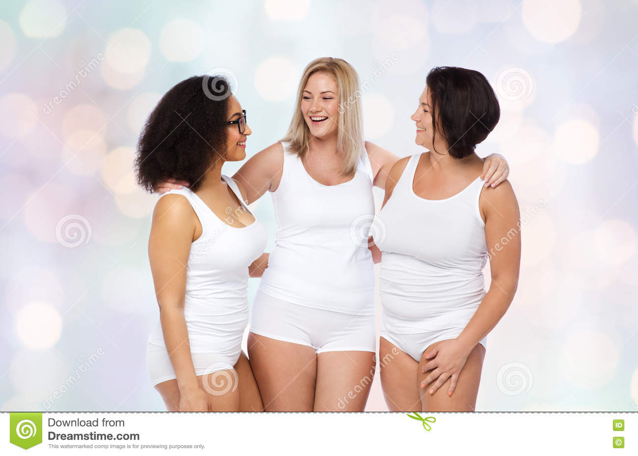 Group Of Happy Plus Size Women In White Underwear Stock Photo ...