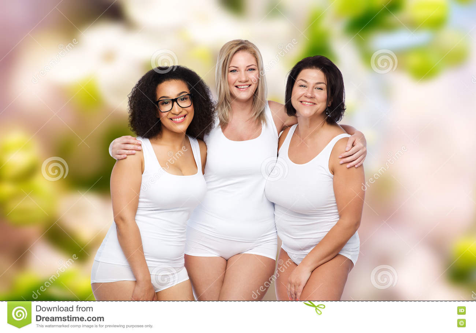 68bd58e724c Group Of Happy Plus Size Women In White Underwear Stock Photo ...