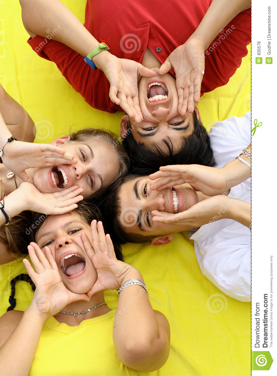 Happy Teen By Crumbling Wall Stock Image: Group Of Happy Teens Royalty Free Stock Photos