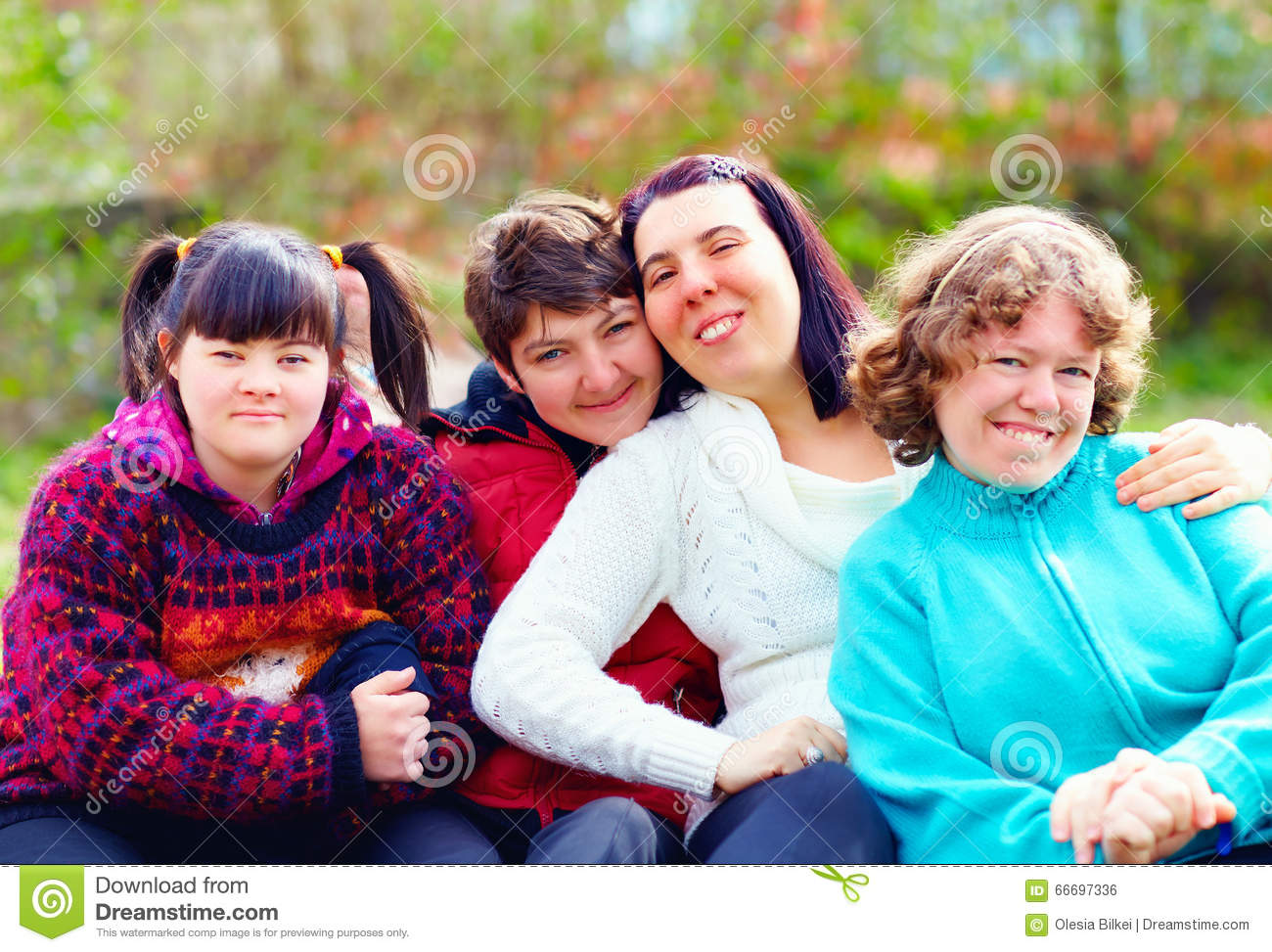 Group Of Happy Women With Disability Having Fun In Spring