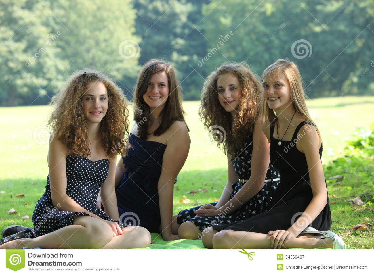 Group Of Happy Young Teenage Female Friends On Summer