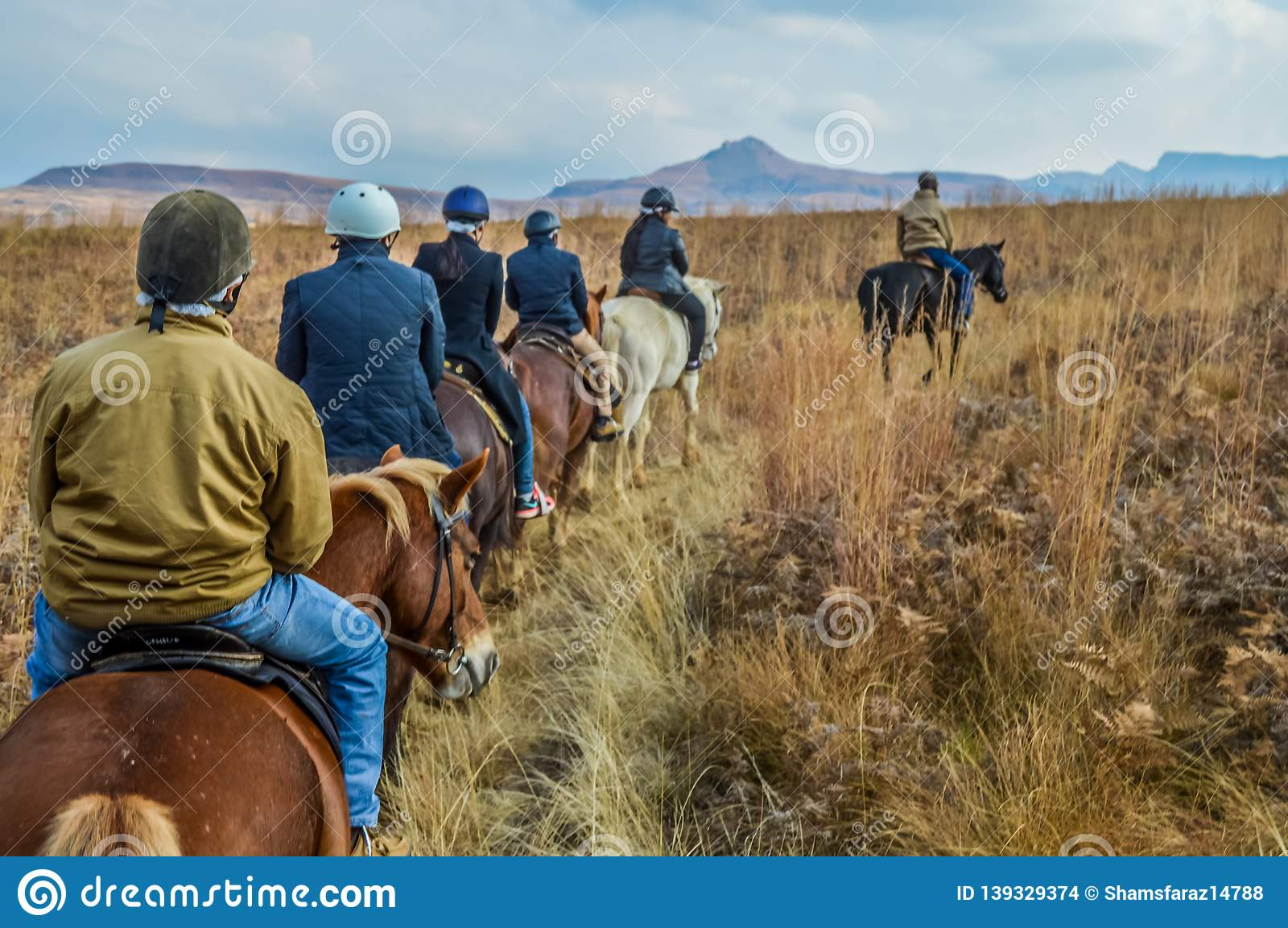 Group Of Indian Horse Riding Riders On A Trail In Drakensberg Re Stock Photo Image Of Adventure Horse 139329374