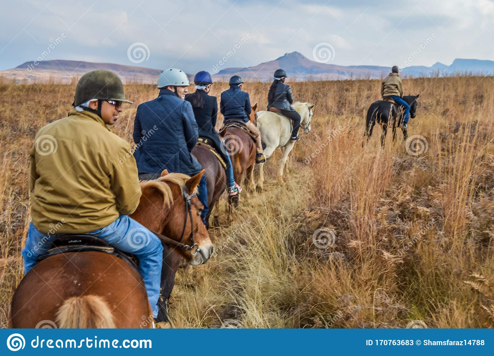 Group Of Indian Horse Riding Riders On A Trail In Drakensberg Re Editorial Stock Photo Image Of Asian Africa 170763683