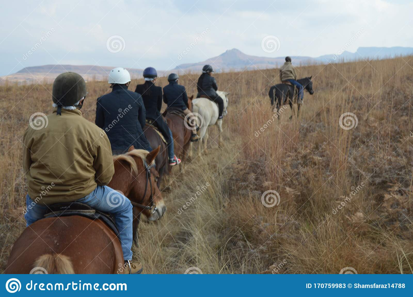 Group Of Indian Horse Riding Riders On A Trail In Drakensberg Region In South Africa Editorial Stock Photo Image Of Outdoors Back 170759983