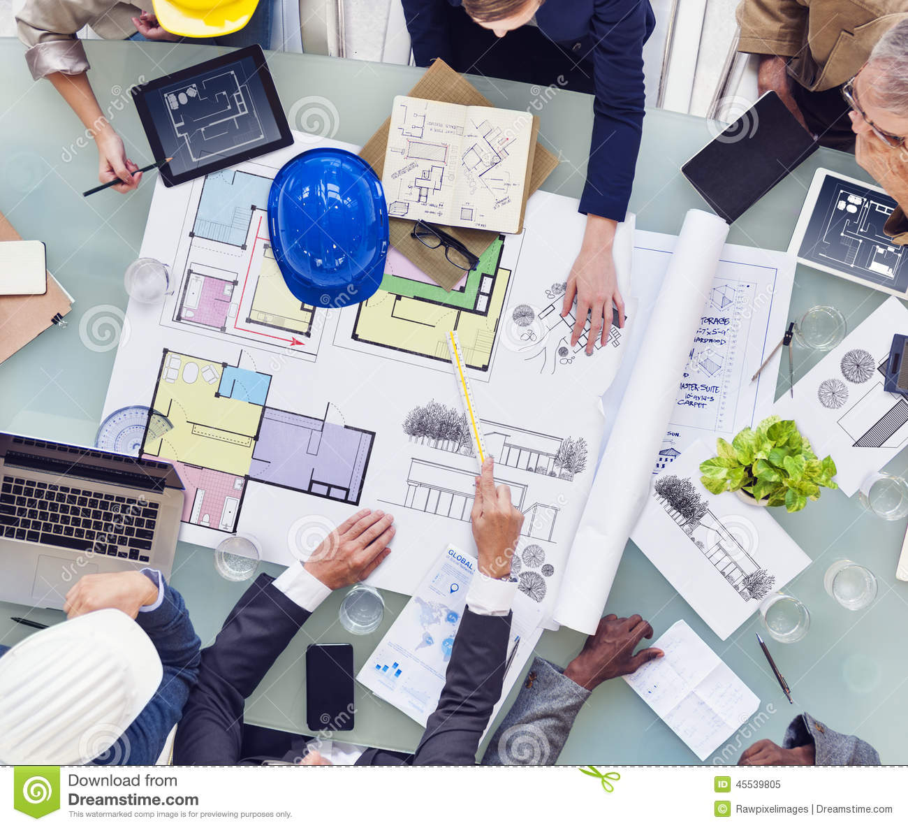 Group Of Interior Designers Working Together Stock Image