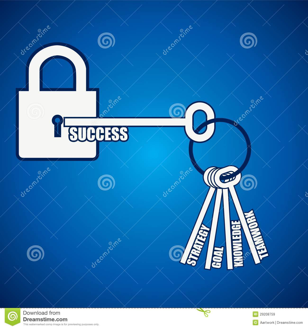group of keys open a success lock royalty free stock