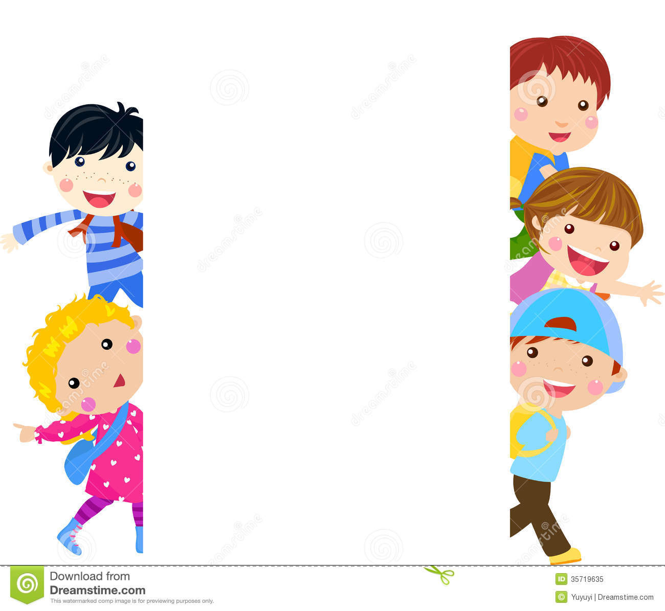 Group Of Kids And Banner Royalty Free Stock Photo - Image ...