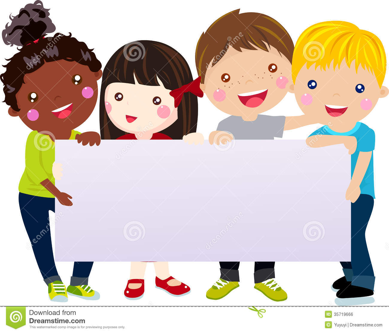 Group Of Kids And Banner Royalty Free Stock Image - Image: 35719616