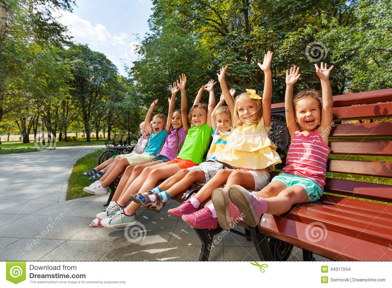 Group Of Kids On The Bench Cheering Lifting Hands Stock ...