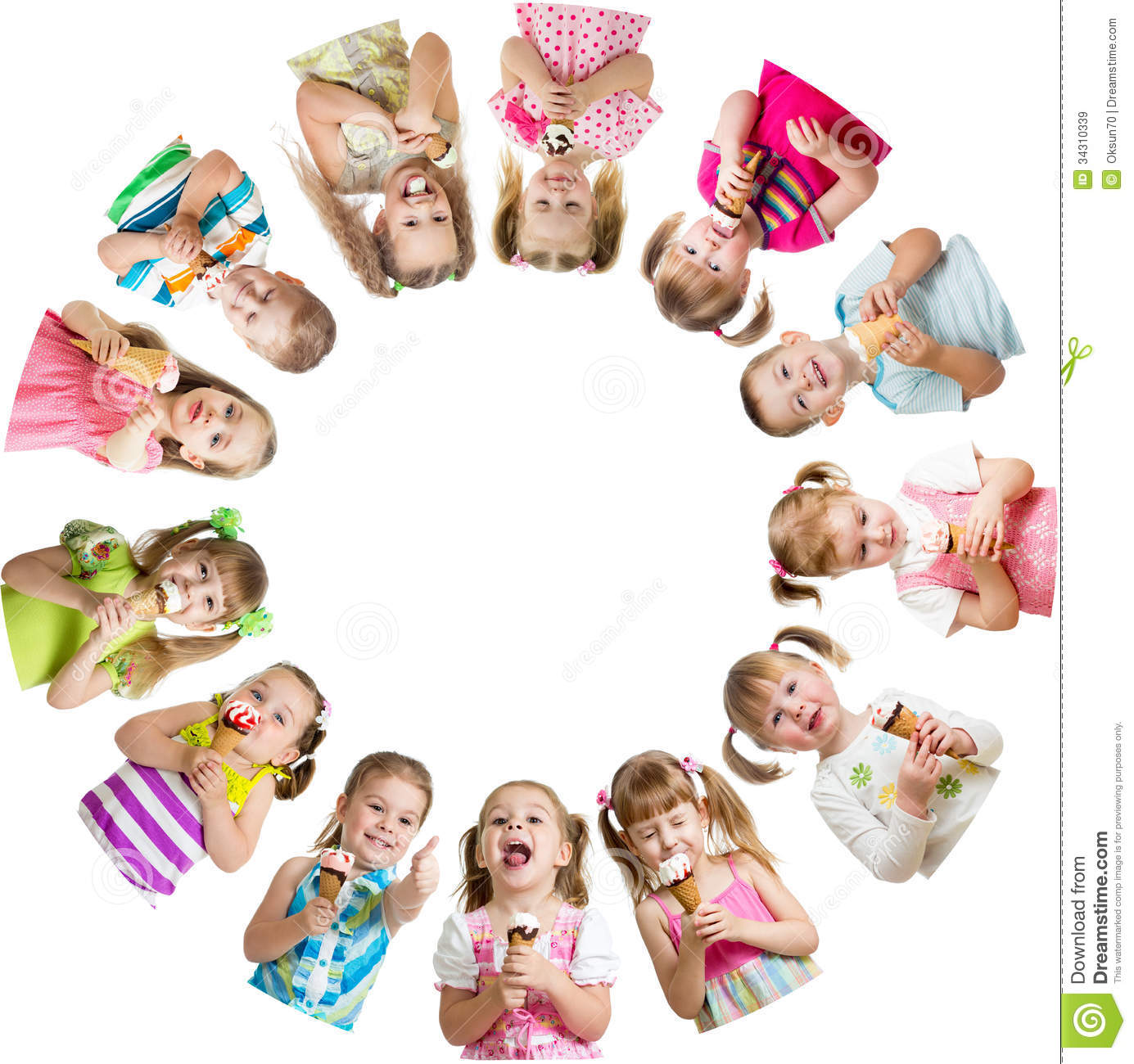 Group Of Kids Or Children Eat Ice-cream In Circle Royalty ...