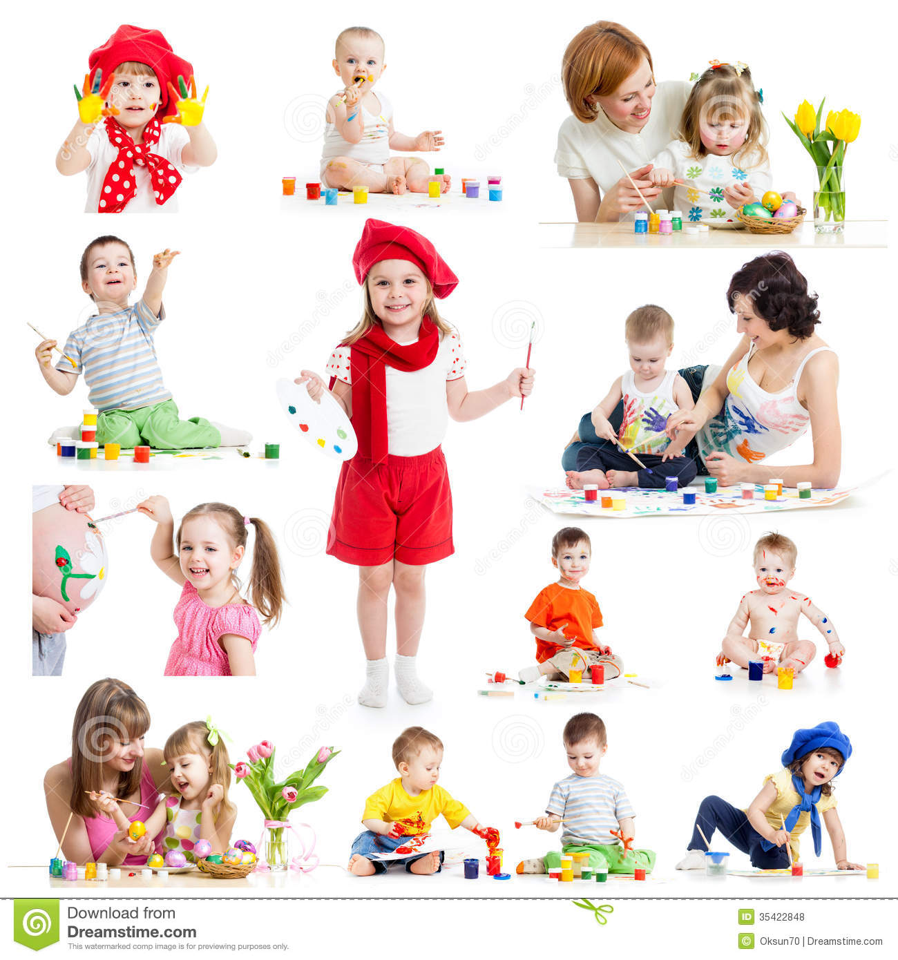 Group Of Kids Or Children Paint With Brush Or Finger Stock ...