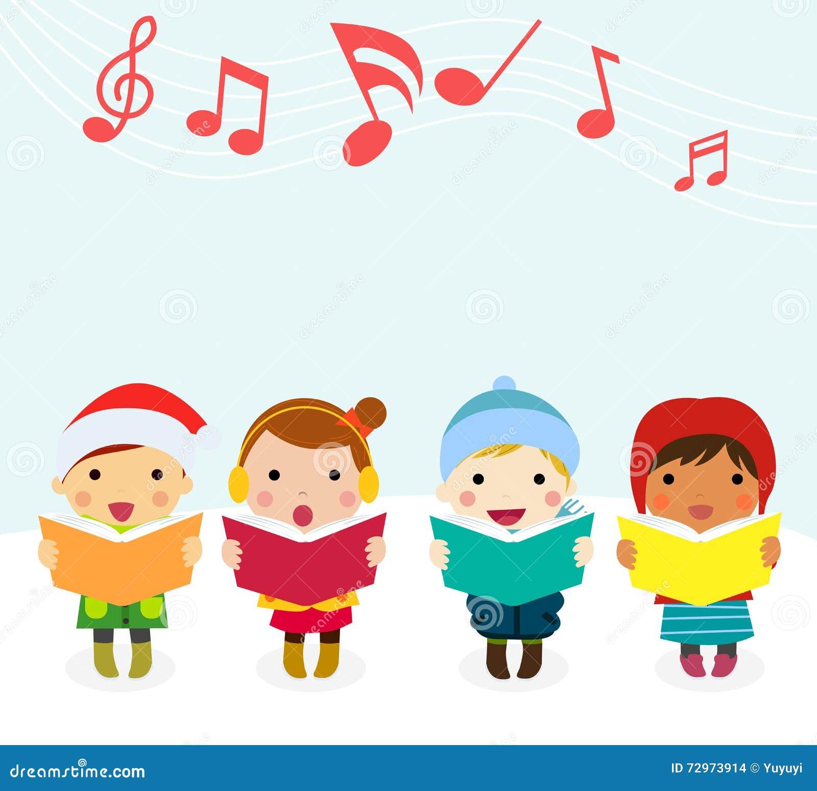 Group Of Kids Chorus Singing Christmas Songs Stock Vector ...