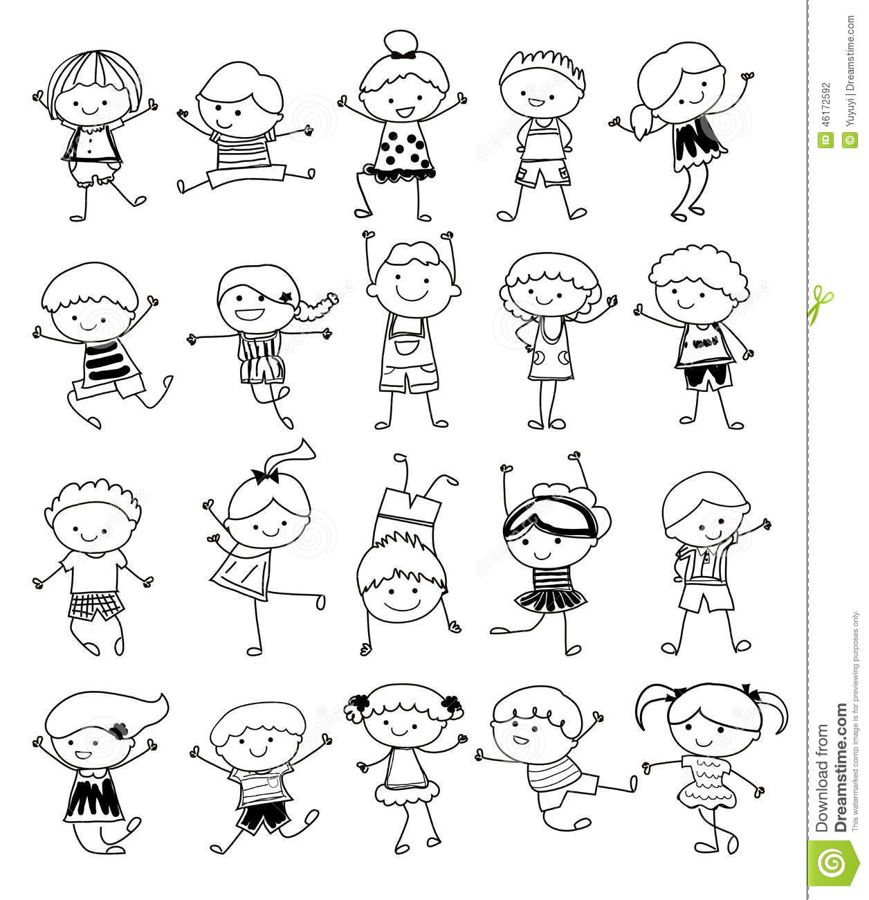 group of kidsdrawing sketch stock photography - Drawing Sketch For Kids