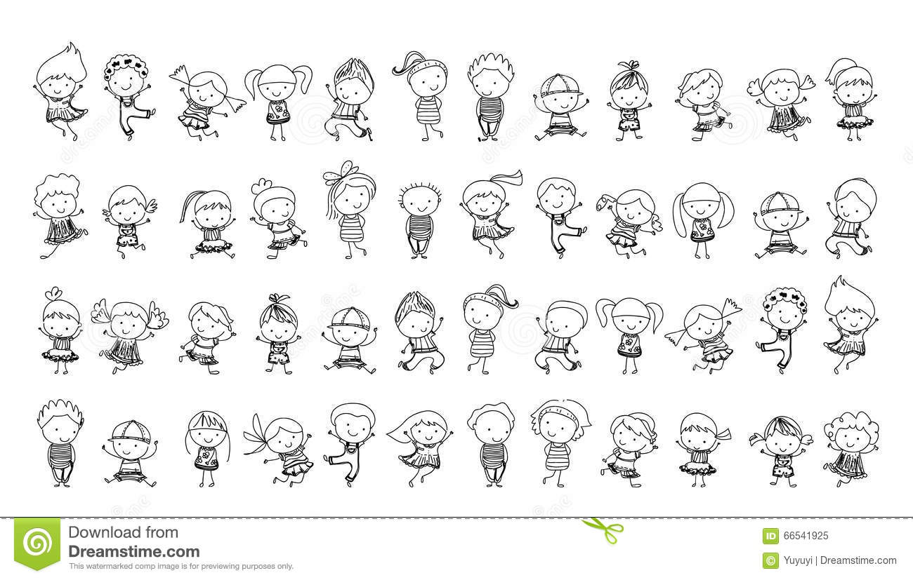 group of kidsdrawing sketch royalty free stock photo