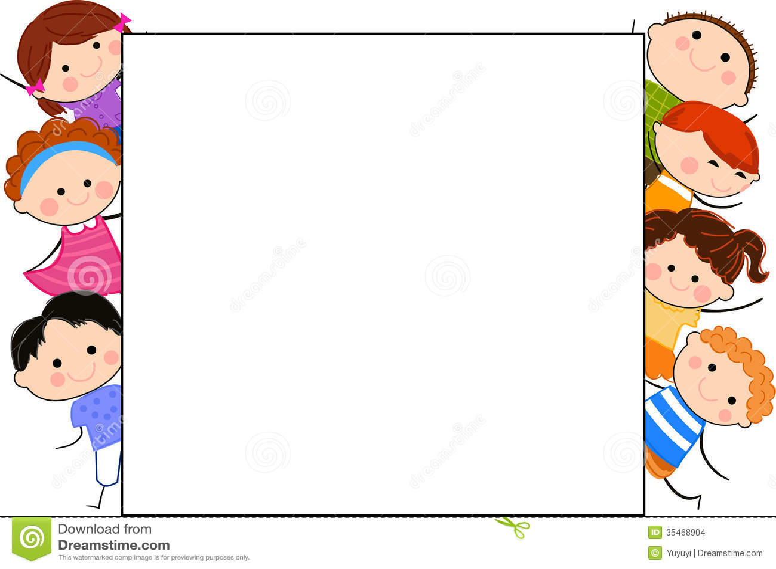 Group of kids and frame stock vector. Illustration of frame - 35468904