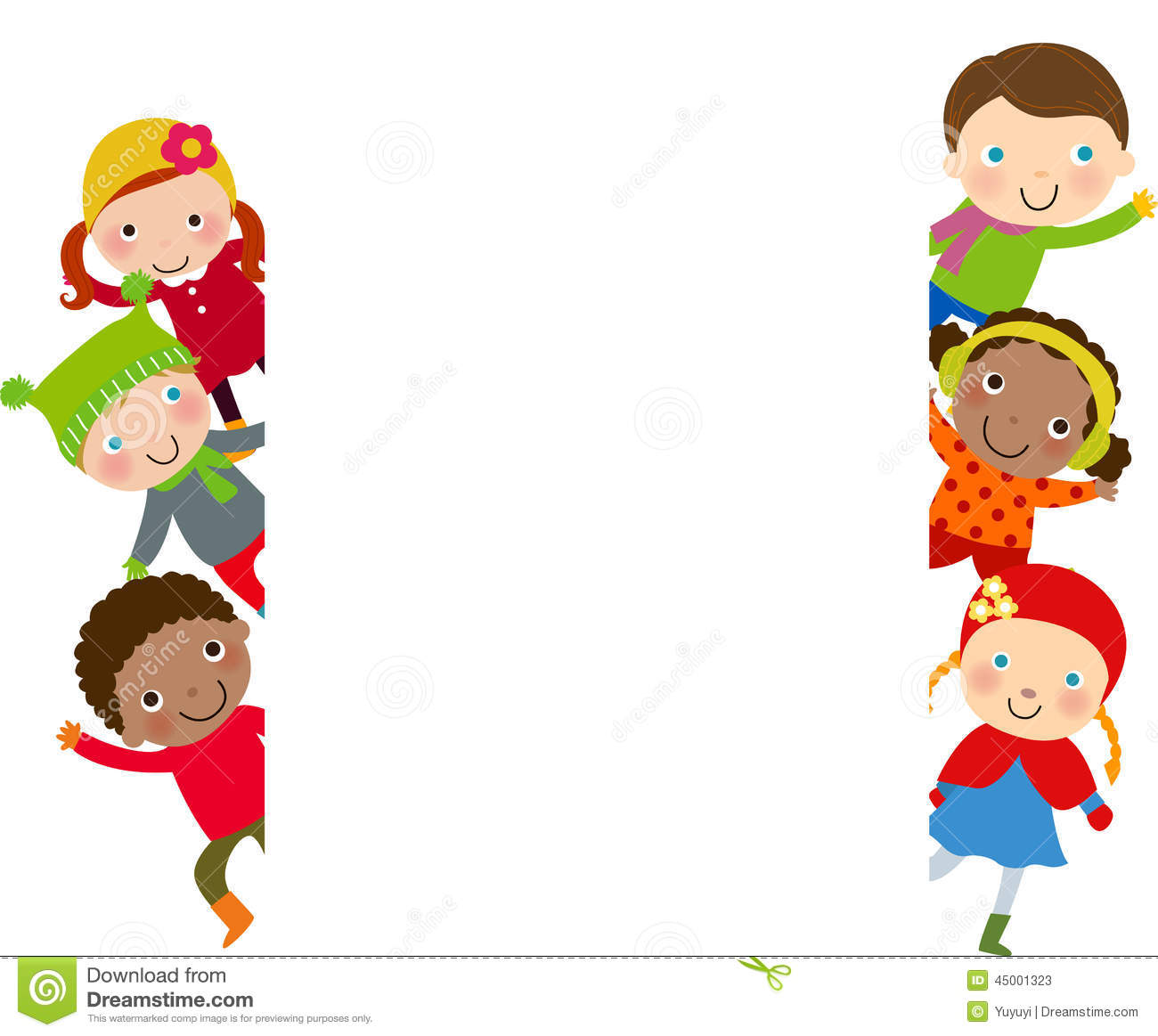 group of kids and frame winter stock vector image