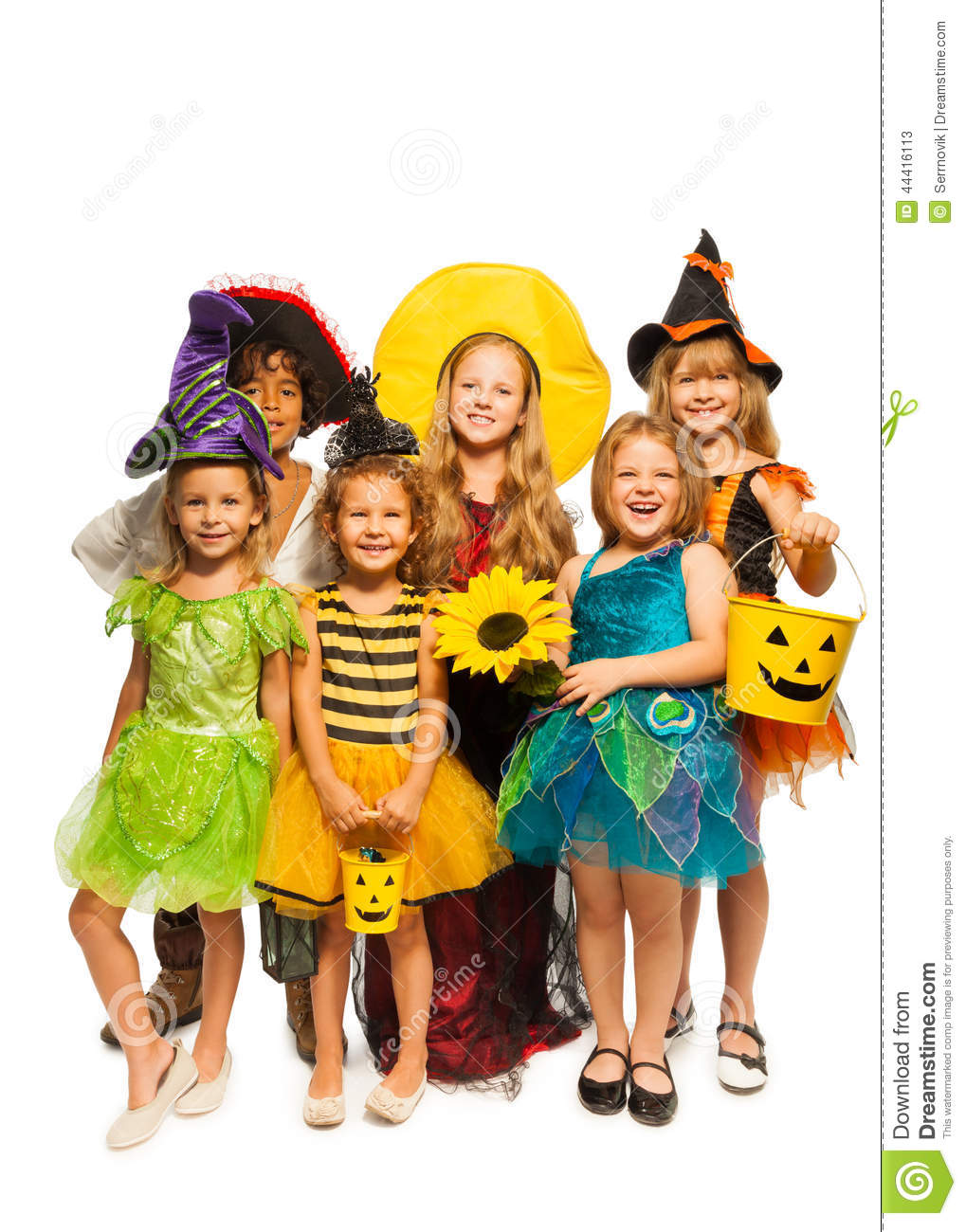 group of kids in halloween costumes stock image - image of portrait