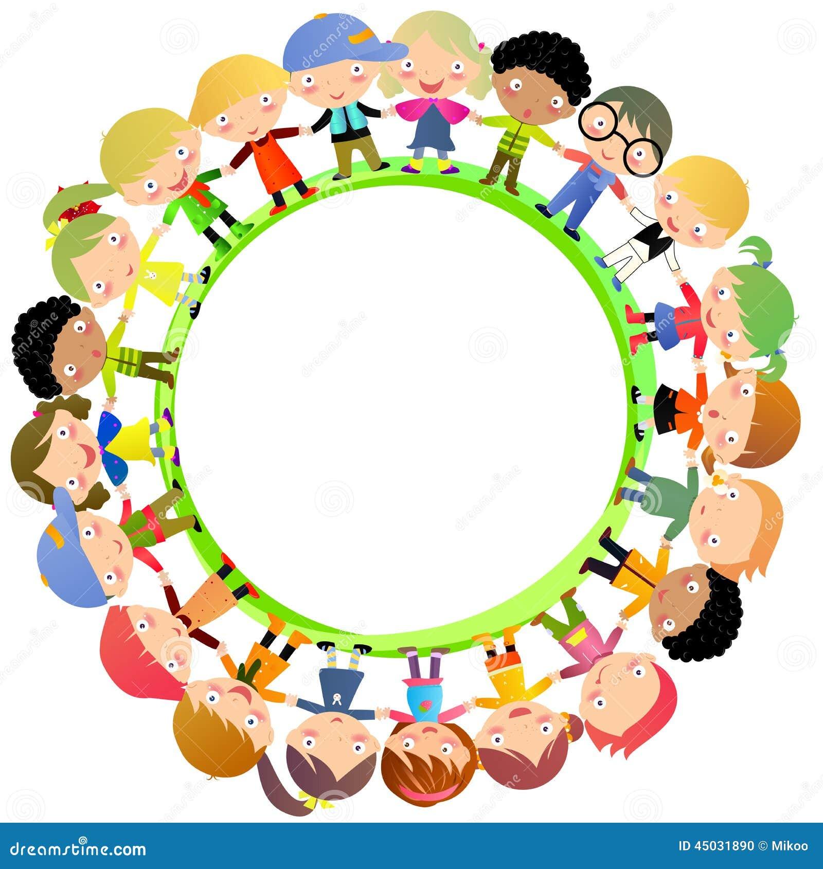 50. Group Of Kids Hand Around Stock Vector   Image: 45031890