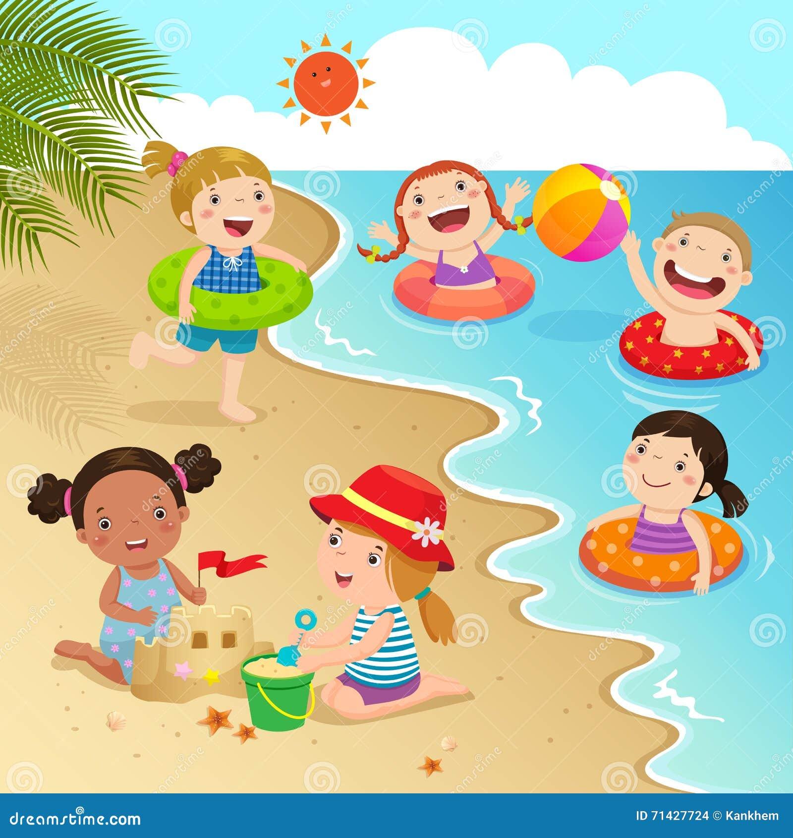 Happy Kids Having Fun On The Beach Vector Illustration ...