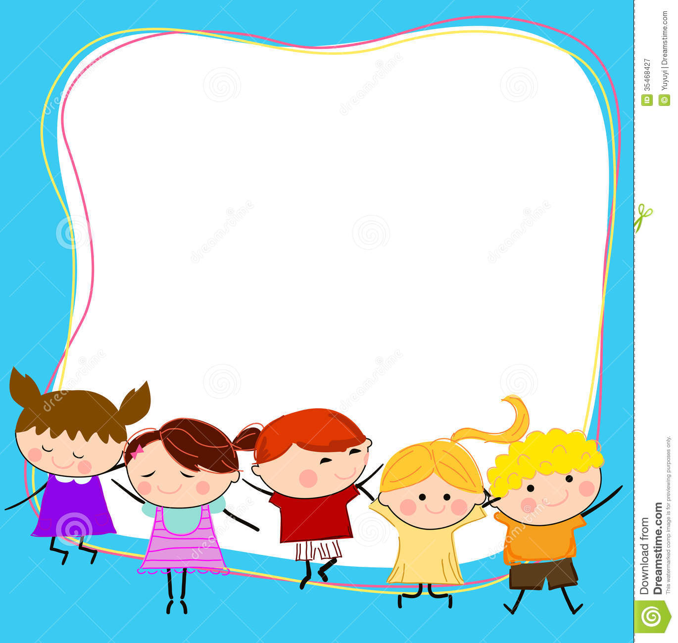 Group Of Kids Having Fun And Frame Stock Vector - Illustration of ...