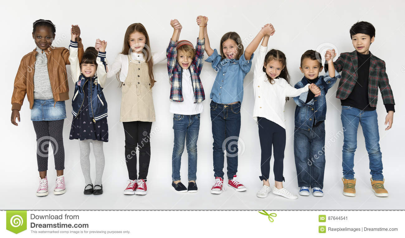 Group of Kids Holding Hands Face Expression Happiness Smiling on