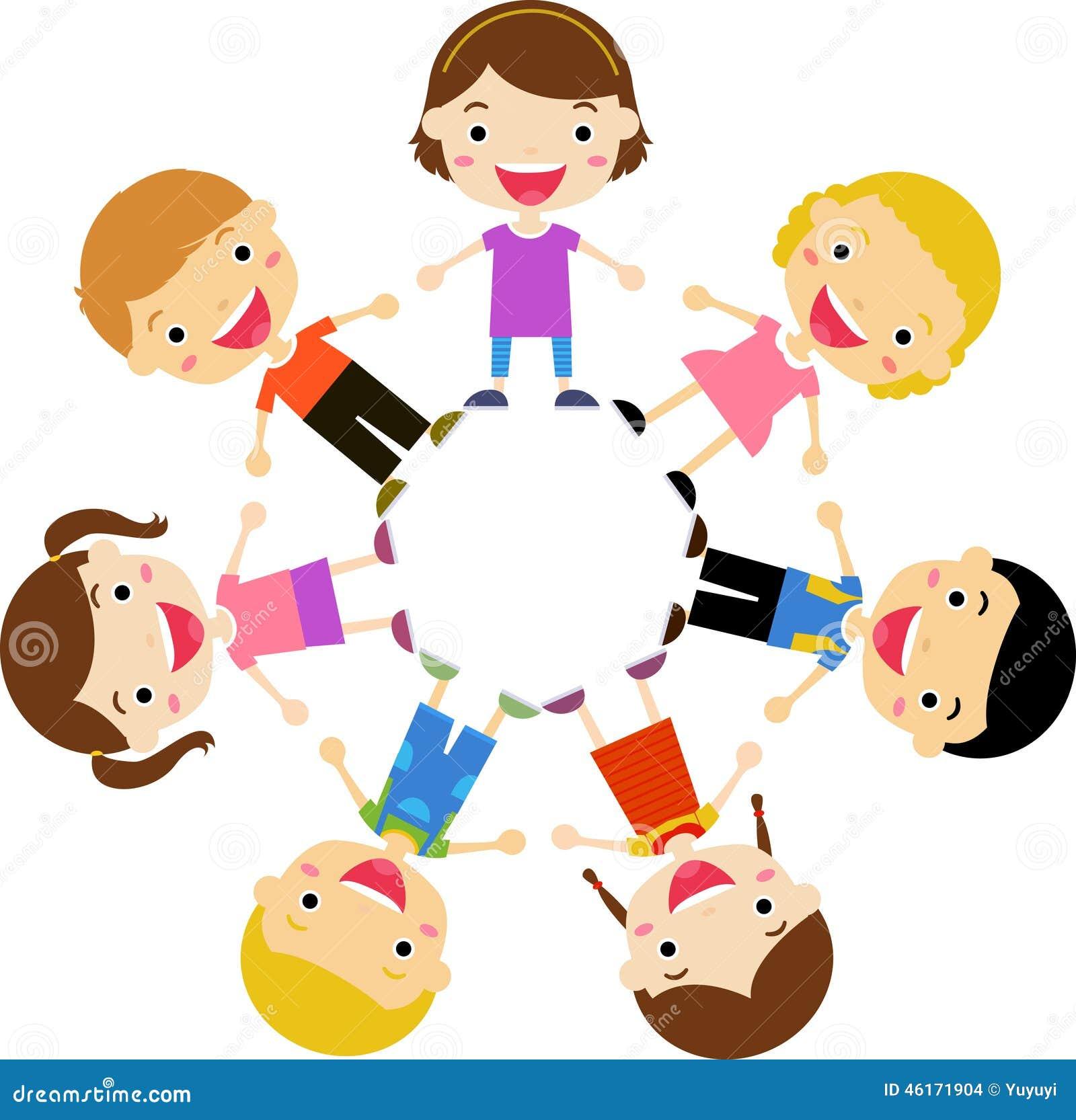 Preschool Classroom Floor Plans Group Of Kids Holding Hands Standing Around Stock Vector