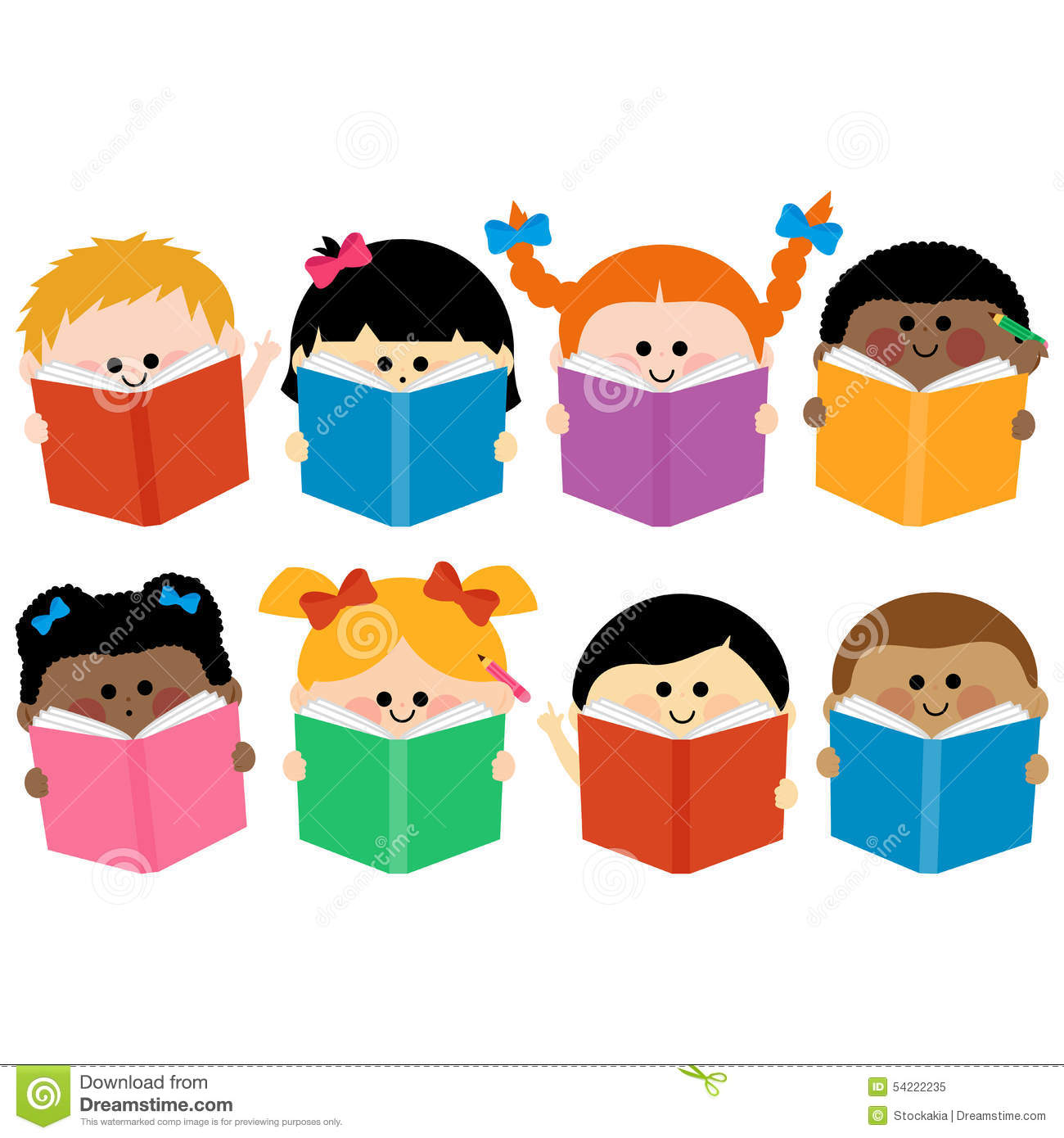 Group Of Kids Icons Reading Books Stock Vector - Image ...