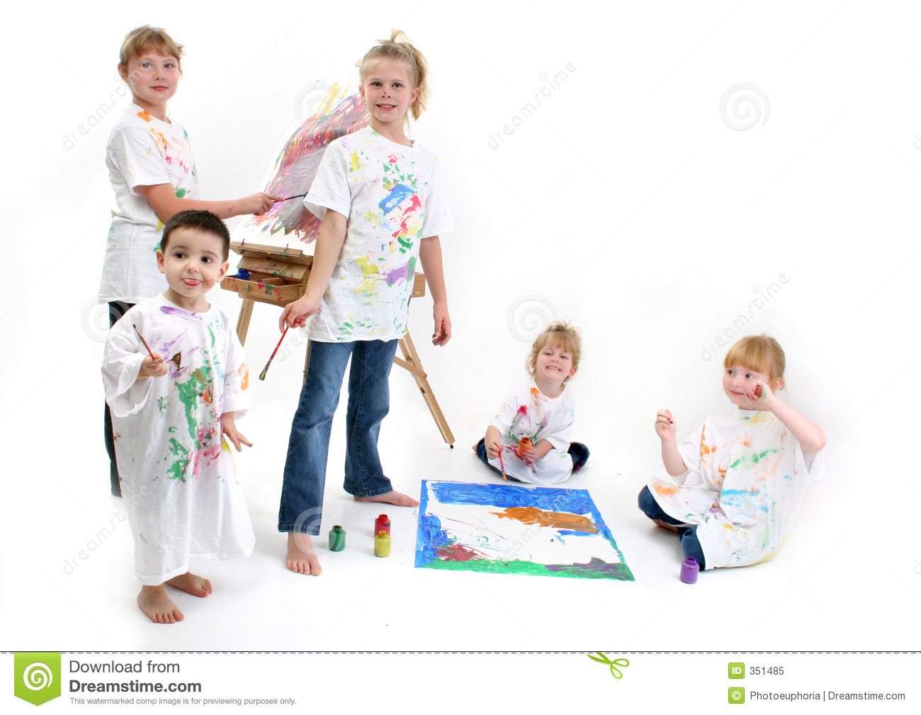 group of kids painting royalty free stock photo - Kids Painting Images