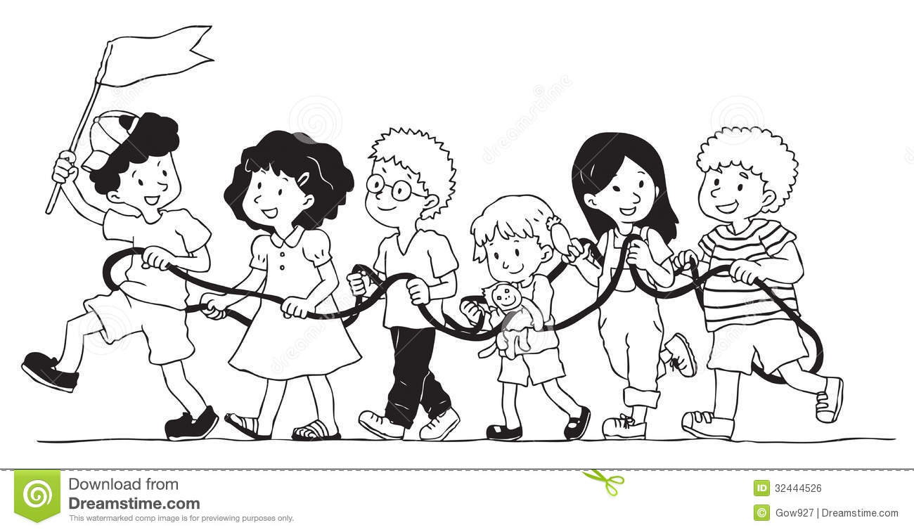 Dibujo De Nacionalidades Para Colorear: Group Of Kids Is Playing Rope Train Stock Vector