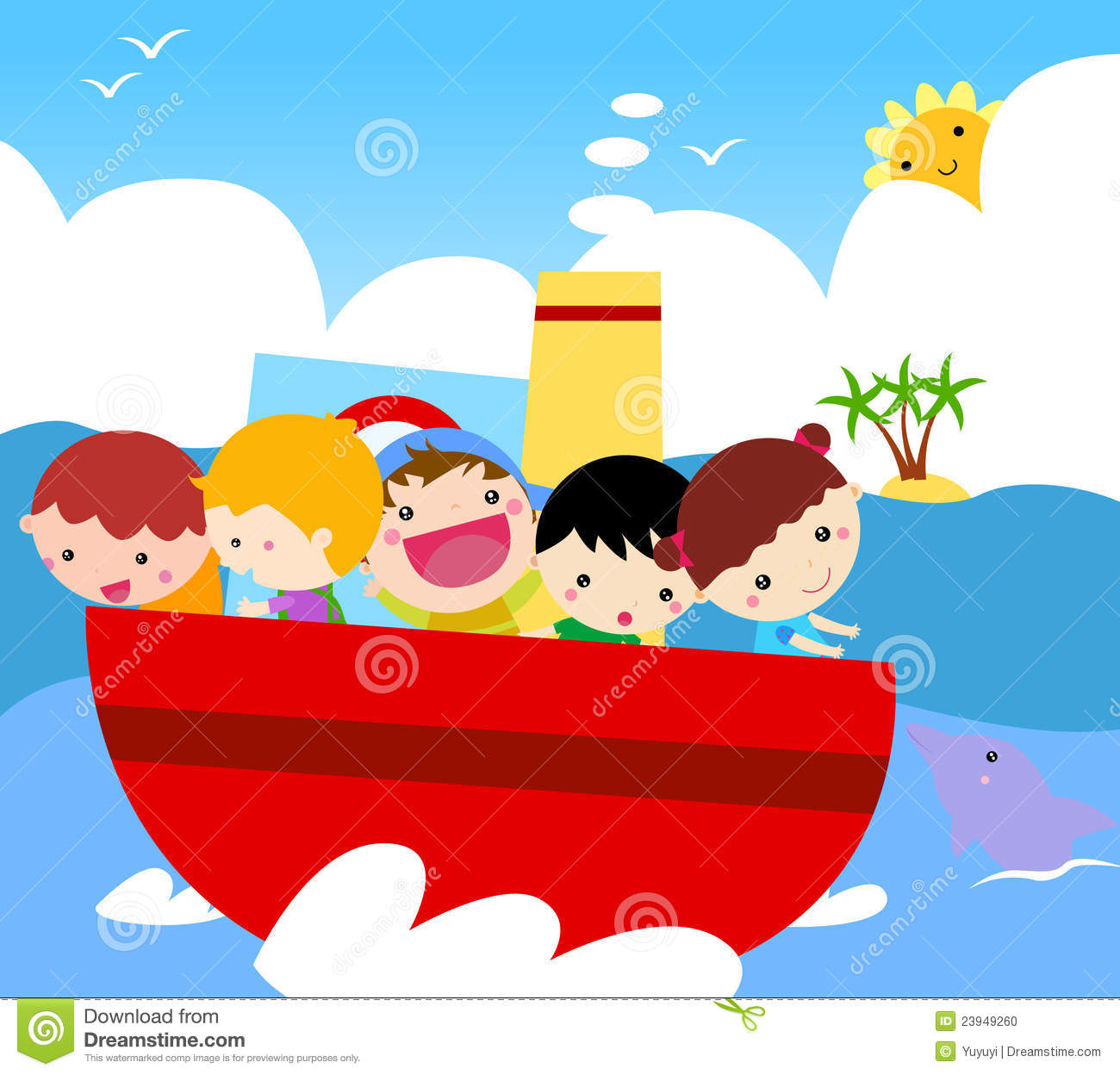 Group of kids on ship
