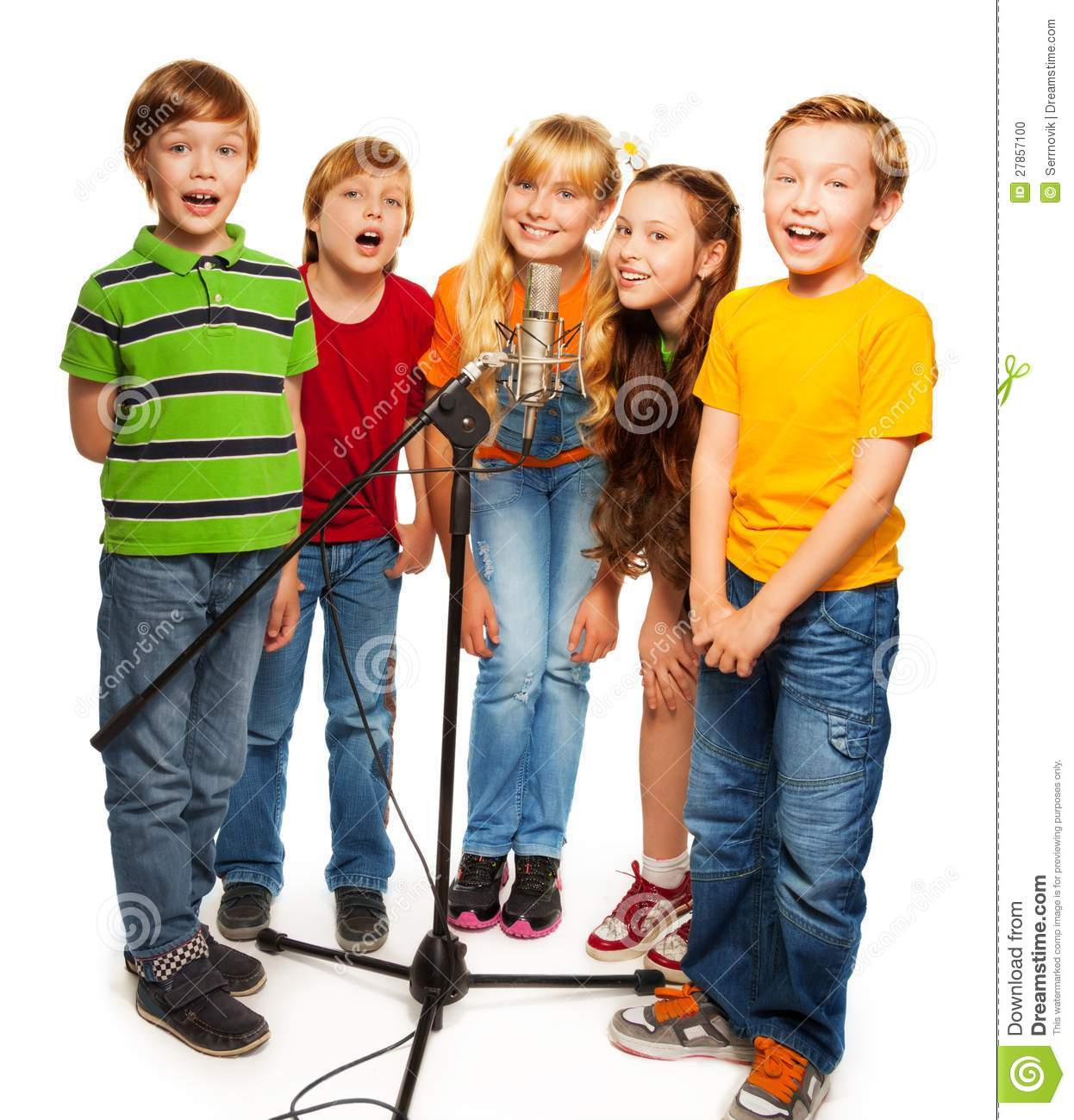 Five Star Singing Group Performance http://www.dreamstime.com/stock-photo-group-kids-singing-to-microphone-image27857100