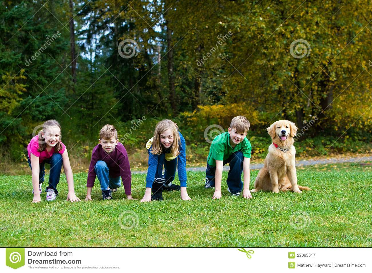 Group Of Kids At A Starting Line Stock Image Image Of