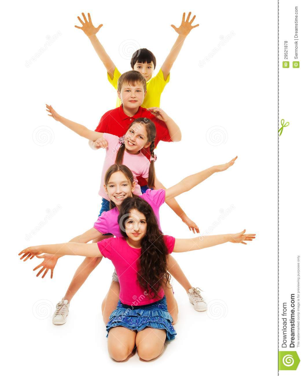 Group of kids waving hands stock photo. Image of friends ...
