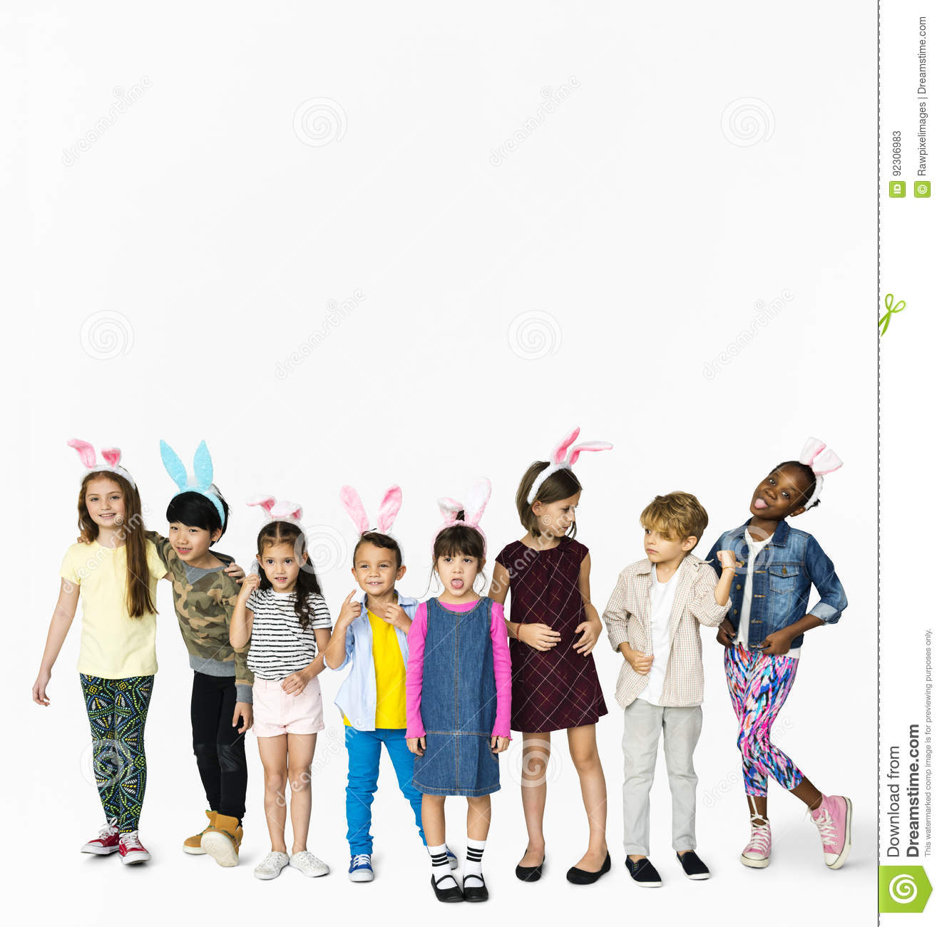 Group of Kids Wearing Bunny Ears for Easter Happiness Smiling on White Background
