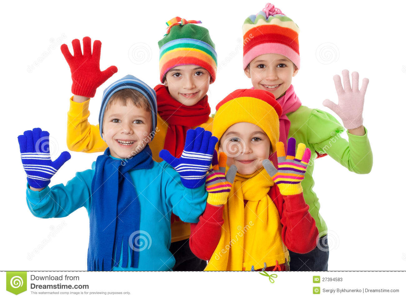 Group Of Kids In Winter Clothes Stock Photos - Image: 27394583