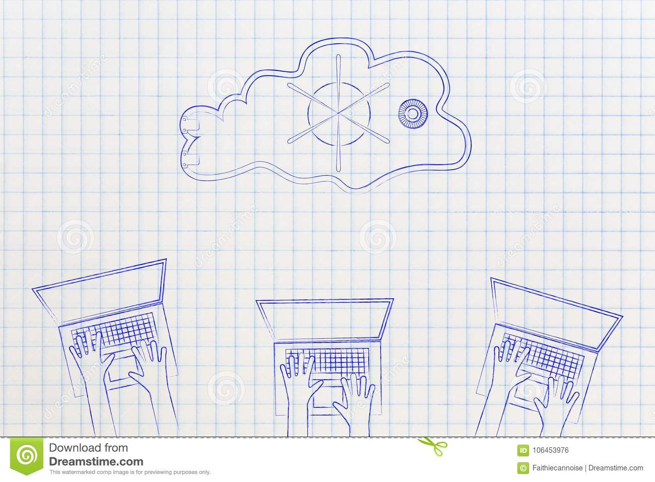 group of laptop users with safe-lock cloud above them