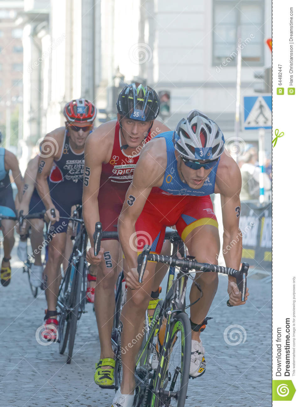 Group Of Male Cycling Triathlon Competitors Editorial ...