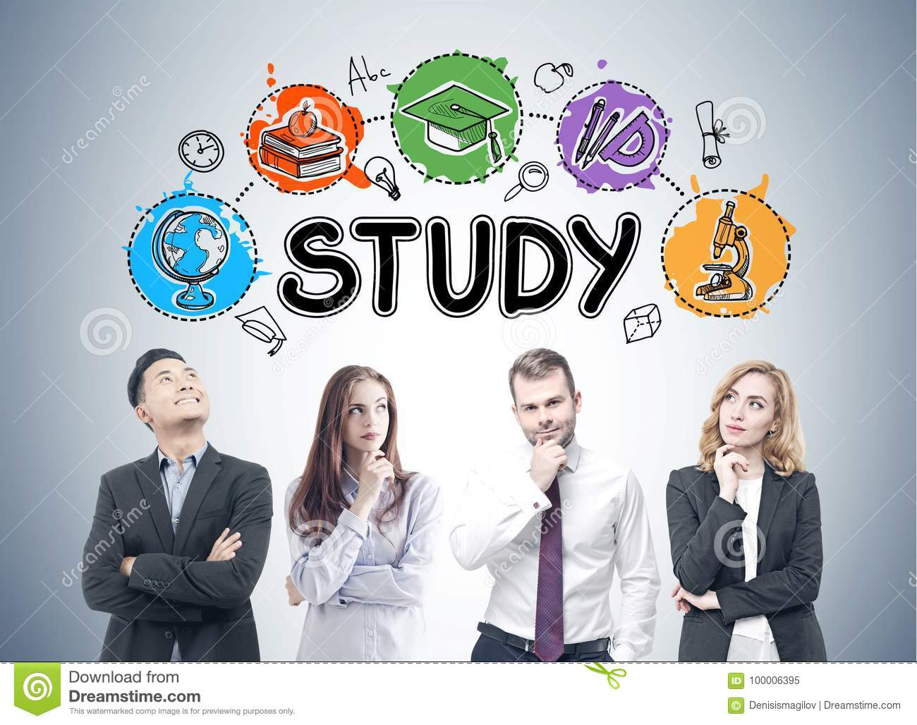 group of mba students study icons stock image image of reading